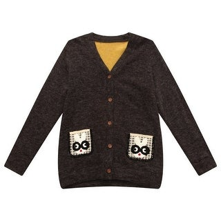 Richie House Boys Black Rabbit Pockets Cardigan Sweater 7-8
