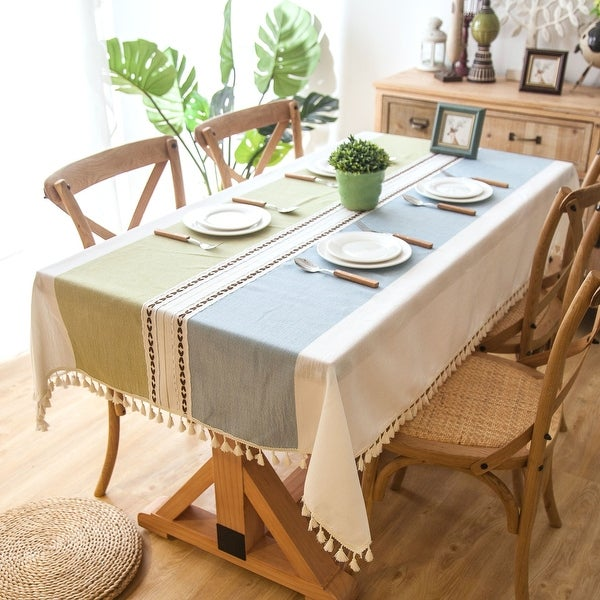 """Enova Home 54""""x 78"""" High Quality Rectangle Cotton and Linen Tablecloth with Tassels. Opens flyout."""