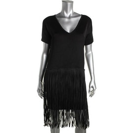 French Connection Womens Fringe V-Neck Cocktail Dress - 2