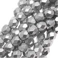 Czech Fire Polished Glass Beads 4mm Round Matte Metallic Silver (50) - Thumbnail 0