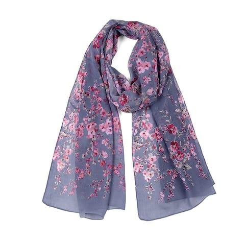"""Long Chiffon Beach Scarf Silk Scarves Floral Scarves for Women Denim Blue - Denim Blue - 63""""x20"""""""
