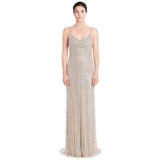 Alberto Makali Metallic Sequined Cowlneck Evening Gown Dress - 6