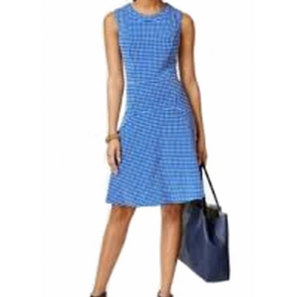 Tommy Hilfiger NEW Blue Women's Size 4 Gingham Textured Sheath Dress