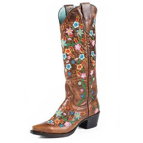 Stetson Western Boots Women Floral Embroider Brown