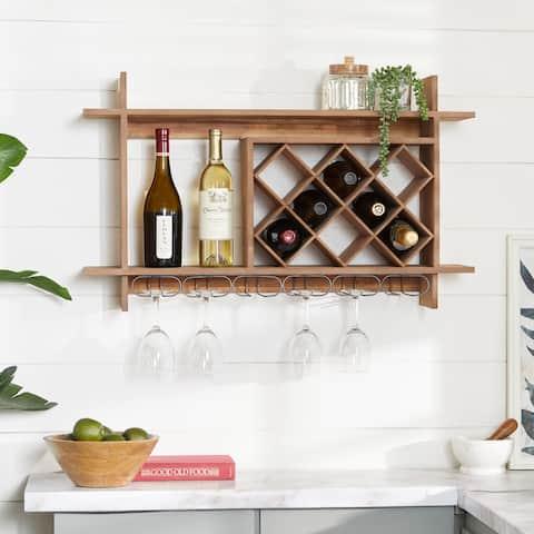Brown Wood Natural Wine Rack 20 x 34 x 8 - 34 x 8 x 20