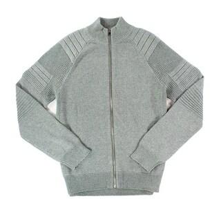 INC NEW Gray Heather Mens Size Medium M Full Zip Textured Knit Sweater