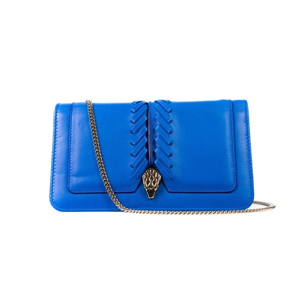 Roberto Cavalli Womens Blue Serpent Wallet Clutch Mini Shoulder Bag