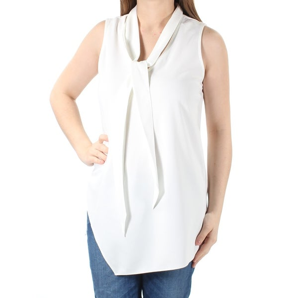 Shop Womens Ivory Sleeveless Tie Neck Blouse Top Size M On Sale