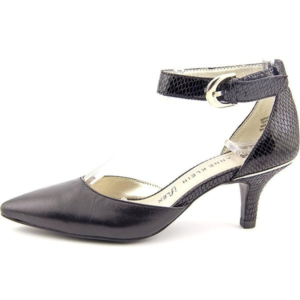 Anne Klein Womens Fayza Leather Pointed Toe Ankle Strap D-orsay Pumps