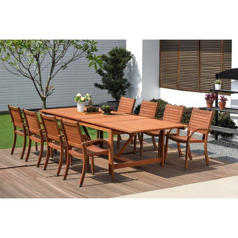 Amazonia Sharon 9-piece Eucalyptus Wood Extendable Patio Dining Set