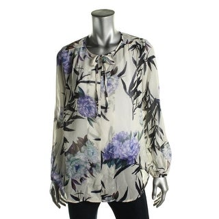 Karen Kane Womens Blouse Sheer Printed