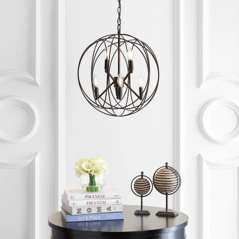 "Safavieh Lighting Raylon Adjustable 8-light LED Brass Pendant - 19.3""x19.5""x26.3-98.3"""