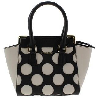 Calvin Klein Womens On My Corner Satchel Handbag Signature Polka Dot - Black Dot - MEDIUM