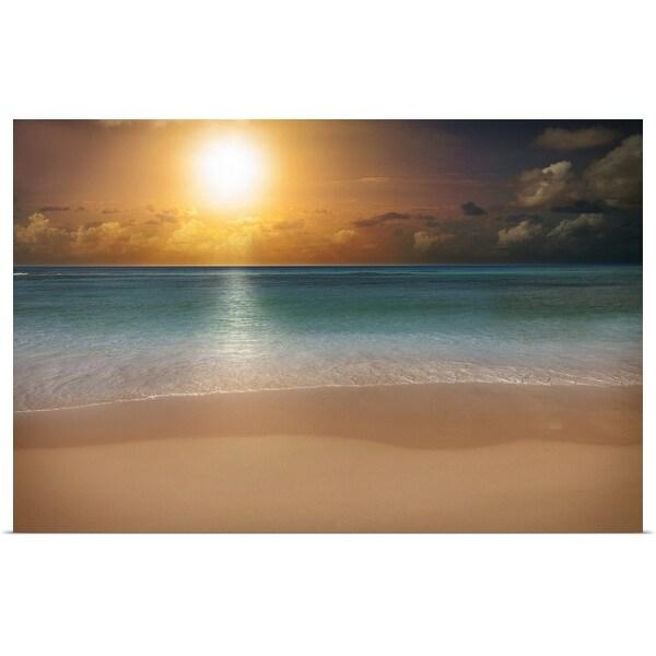 """Sunrise over a beach"" Poster Print"