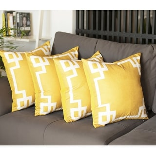 Geometric Greek Key Decorative Throw Pillow Cover Set (4 pcs in set)