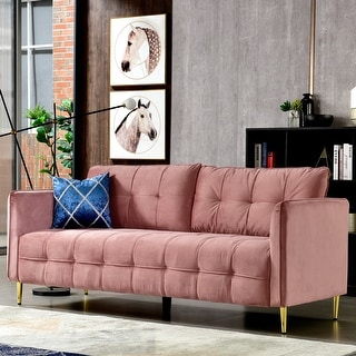 Link to Ovios High back Couch,Mid-Centry Spring Upholstered sofa,71 inch Velvet fabric Futon with metal golden leg for living room Similar Items in Sofas & Couches