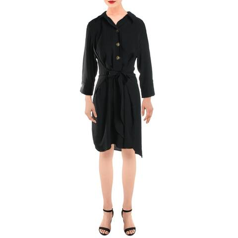 Emma & Michele Womens Wear to Work Dress Woven Collared - Black