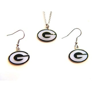 Green Bay Packers Necklace and Dangle Earring Charm Set NFL