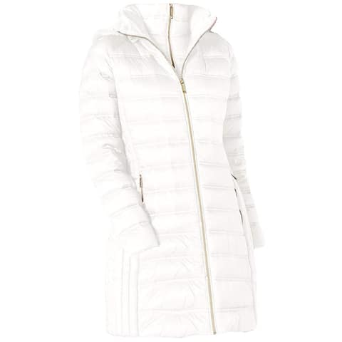 Michael Kors White Down Hooded Packable 3/4 Coat