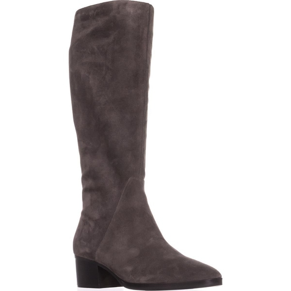 Via Spiga Odella Tall Block-Heel Boots, Anthracite