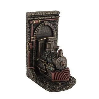 Steampunk Steam Locomotive Bronze Finished Single Bookend