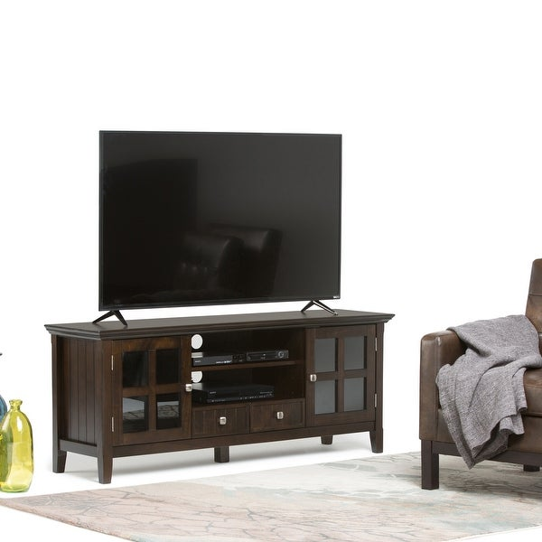 WYNDENHALL Normandy SOLID WOOD 60 inch Wide Rustic TV Media Stand For TVs up to 65 inches - 60'' x 16.5'' x 24. Opens flyout.