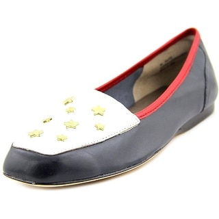 Array Salute Women W Square Toe Leather Blue Loafer