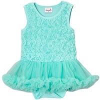 Wenchoice Baby Girls Teal Rose Tutu Sleeveless Bodysuit