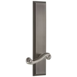 Grandeur CARNEW_TP_PSG_234_LH  Carre Solid Brass Tall Plate Rose Left Handed Passage Door Lever Set with Newport Lever and