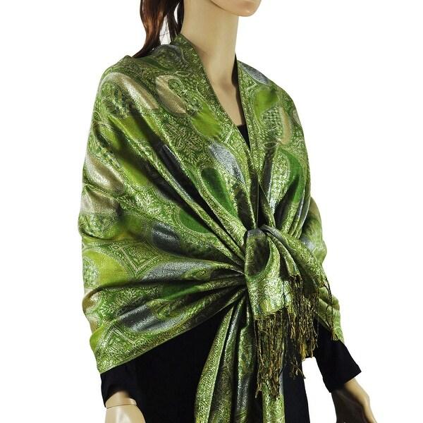 Women's All Paisley Pattern Metallic Pashmina Shawl Wrap