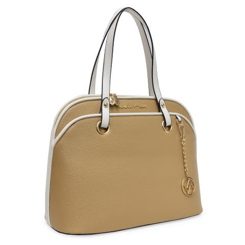 Adrienne Vittadini The Sophia Collection Pebble Grain Dome Satchel With Colorblock Trim Taupe With White Trim