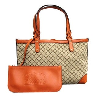 Gucci Craft Beige/Orange Diamante Canvas Tote Bag