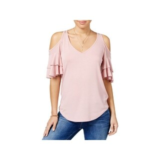 Almost Famous Womens Juniors Blouse V Neck Tiered