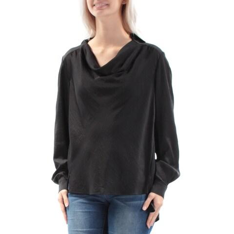 ANNE KLEIN Womens Black Cuffed Cowl Neck Hi-Lo Top Size: 6