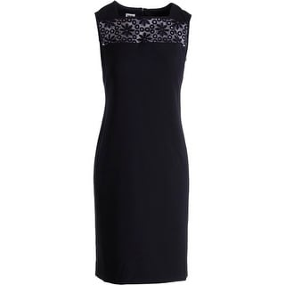 Anne Klein Womens Crepe Embroidered Wear to Work Dress