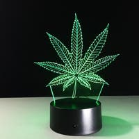 3D Illusion Bulbing Weed Lamp Acrylic LED Night Light Micro USB Table Desk Lamp