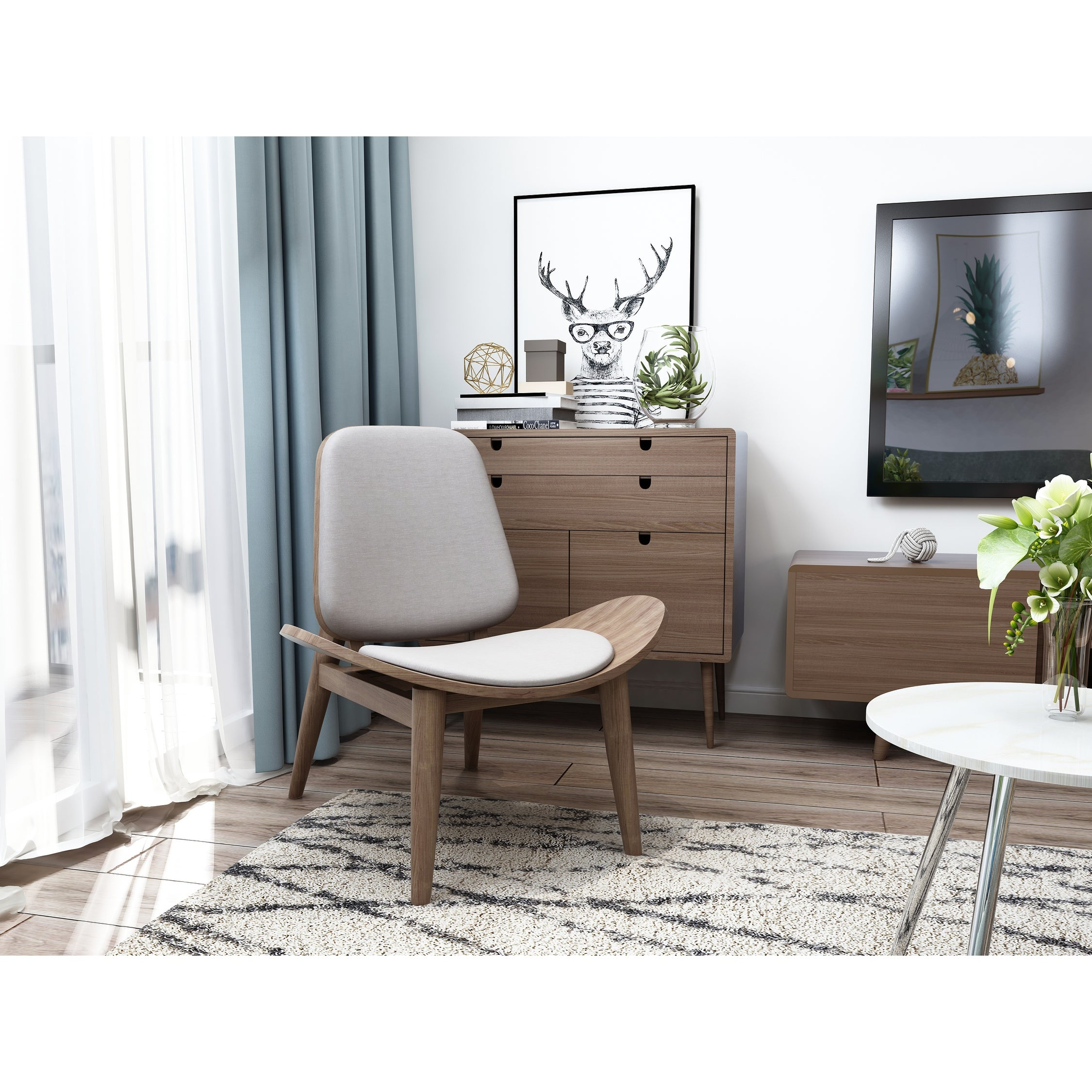 2xhome Modern Fabric Shell Wing Chair Armless Padded Seat Wooden Lounge Living Room Restaurant Office Work