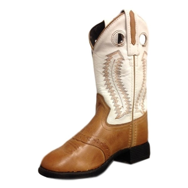 16333870af7 Old West Cowboy Boots Boys Girls Western Round Toe Tan White 1903