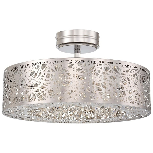 Kovacs P985-077-L 1-Light LED Semi-Flush Ceiling Fixture from the Hidden Gems Collection - Chrome - n/a