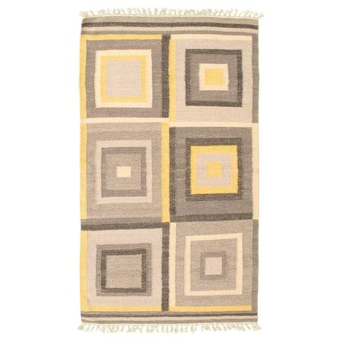 ECARPETGALLERY Flat-weave Ankara FW Grey Wool Kilim - 3'3 x 5'6