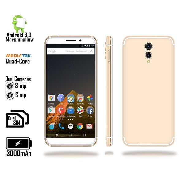 "4G LTE GSM Unlocked 5.6"" SmartPhone by Indigi (4Core @ 1.2GHz + Android 6 Marshmallow + Fingerprint + DualSIM + 8MP CAM)"