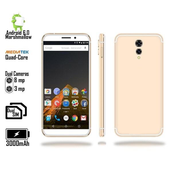 4G LTE Unlocked SmartPhone by Indigi (QuadCore @ 1.2GHz + Android 6 Marshmallow + 8MP CAM + 2SIM + Fingerprint) Gold