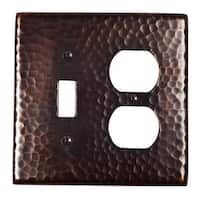"The Copper Factory CF126  4 7/8 x 4 7/8"" Solid Hammered Copper Single Switch and Duplex Receptacle Combination Plate -"