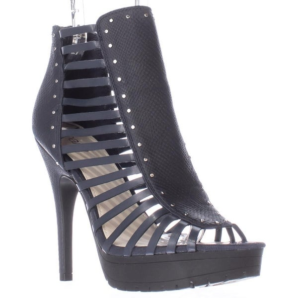 B35 Epic Lug Sole Cage Strapped Peep Toe Sandals, Navy