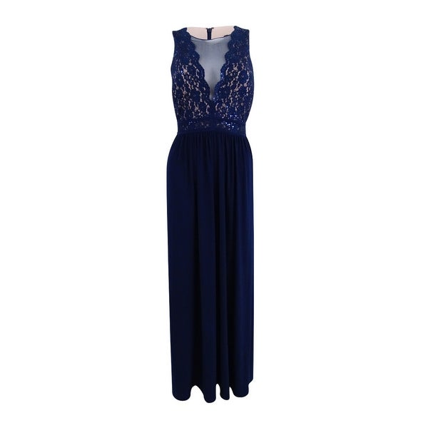 Shop Nightway Women\'s Sleeveless Lace Fit & Flare Gown (8, Navy/Nude ...