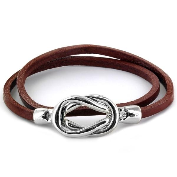 Steel Knot Double Wrap Leather Bracelet (Brown) (4 mm) - 8 in
