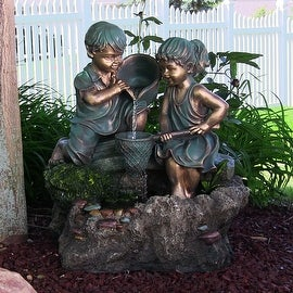 Boy and Girl Playing in Water Outdoor Fountain with LED Light by Sunnydaze Decor