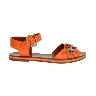 Dolce & Gabbana Orange Leather Crystal Sandals - eu39-us8-5