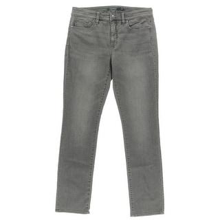 Lauren Ralph Lauren Womens Straight Leg Jeans Gray Wash Slimming Fit