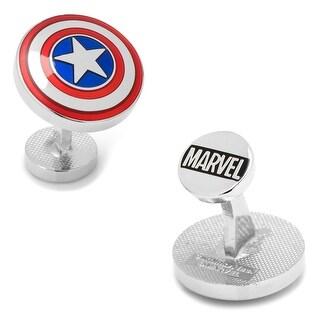Transparent Enamel Captain America Domed Shield Cufflinks